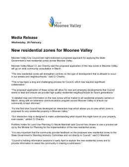 New residential zones for Moonee Valley