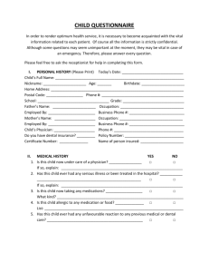 New Patient Form - Child - Kincardine Dentistry Kincardine Dentistry