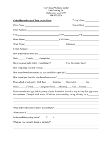 Colon Hydrotherapy Client Intake Form