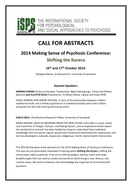 CALL FOR ABSTRACTS 2014 Making Sense of Psychosis