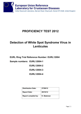 Proficiency Test 2012: Detection of White Spot Syndrome Virus in