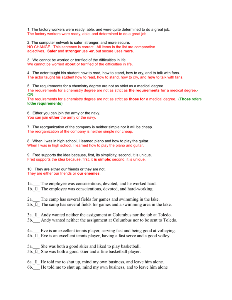 Parallel Structure Worksheet Answers - dhs