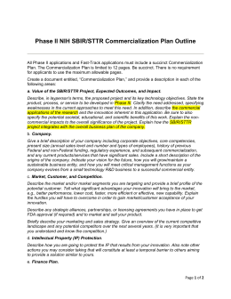 Phase II NIH SBIR/STTR Commercialization Plan Outline