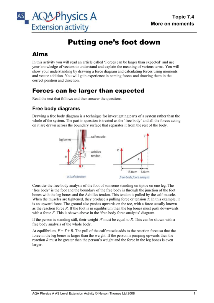 topic 7 4 7 more on moments putting one's foot down aims in this activity  you will read an article called 'forces can be larger than expected' and  use your