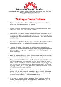 Writing a Press Release - Southampton Voluntary Services