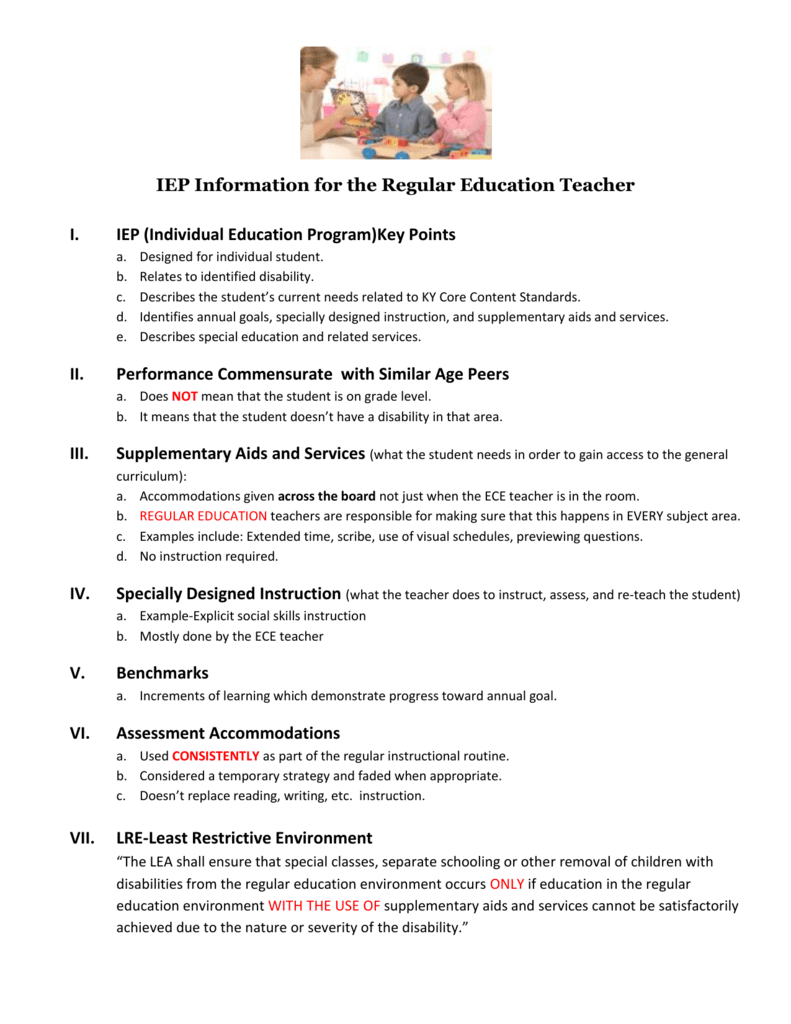 Iep Information For The Regular Education Teacher