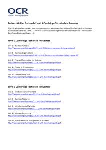 Links to delivery guides for Cambridge Technicals in Business