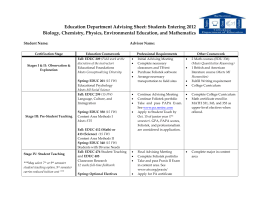 Education Department Advising Sheet: Students Entering 2010