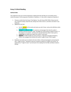 Essay # 1: Rhetorical Analysis of a Speech