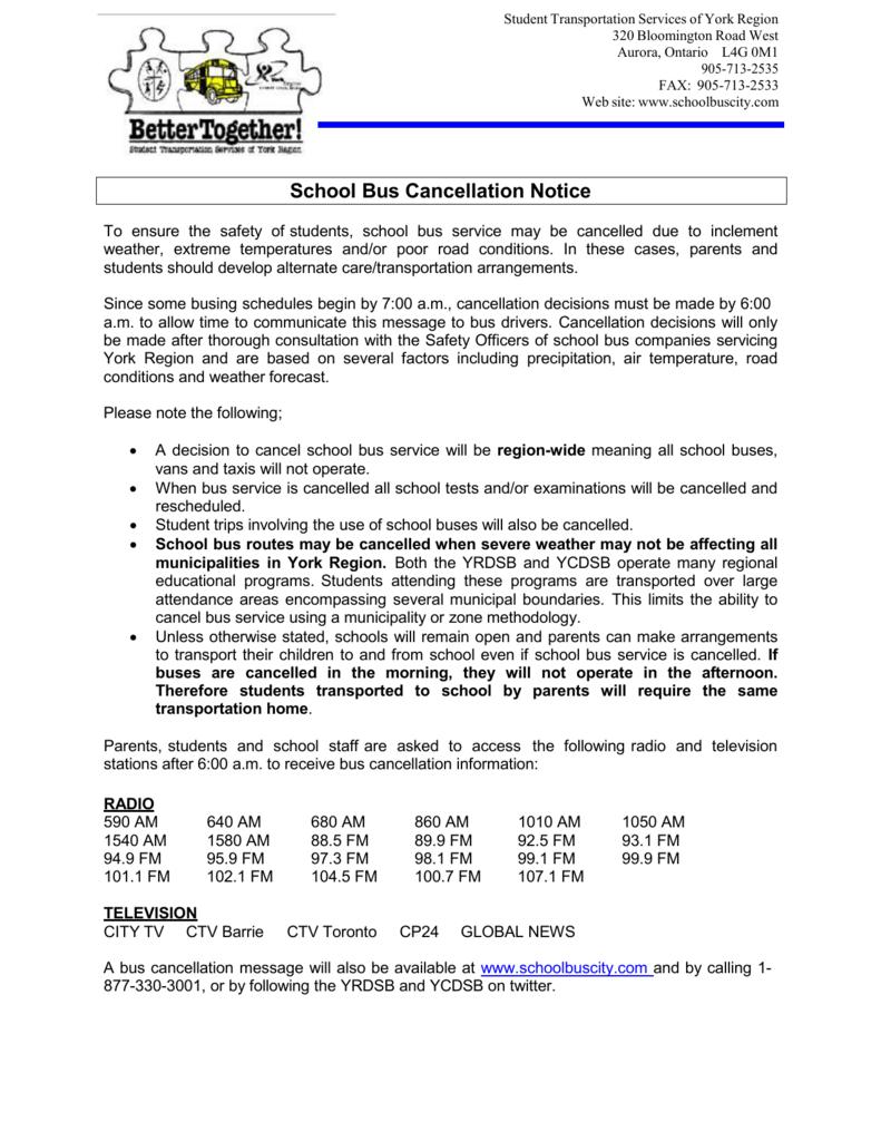 School Bus Cancellation Notice 2014-2015
