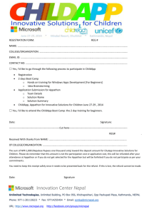 Registration Form for ChildApp , Innovative Solutions for Children