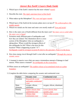Answer Key Earth`s Layers Study Guide