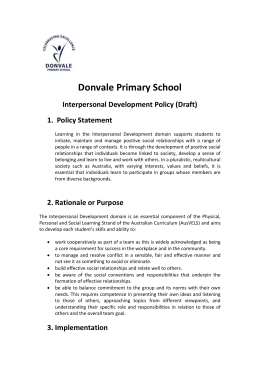 Interpersonal Development Policy 2013