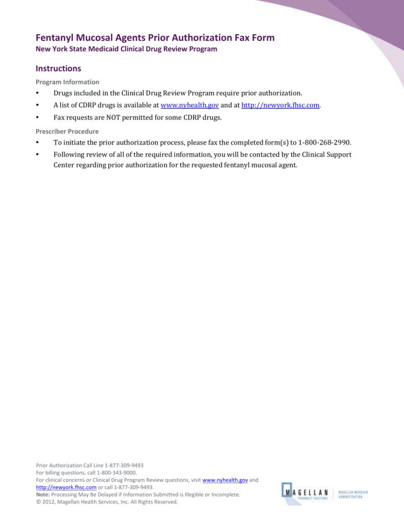 Instructions - NYS Medicaid Pharmacy Prior Authorization Programs