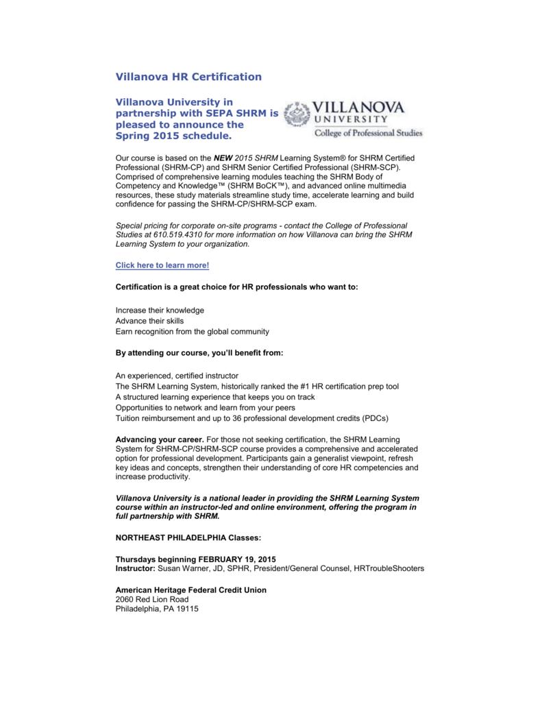 Villanova Spring 2015 Southeastern Pennsylvania Society For