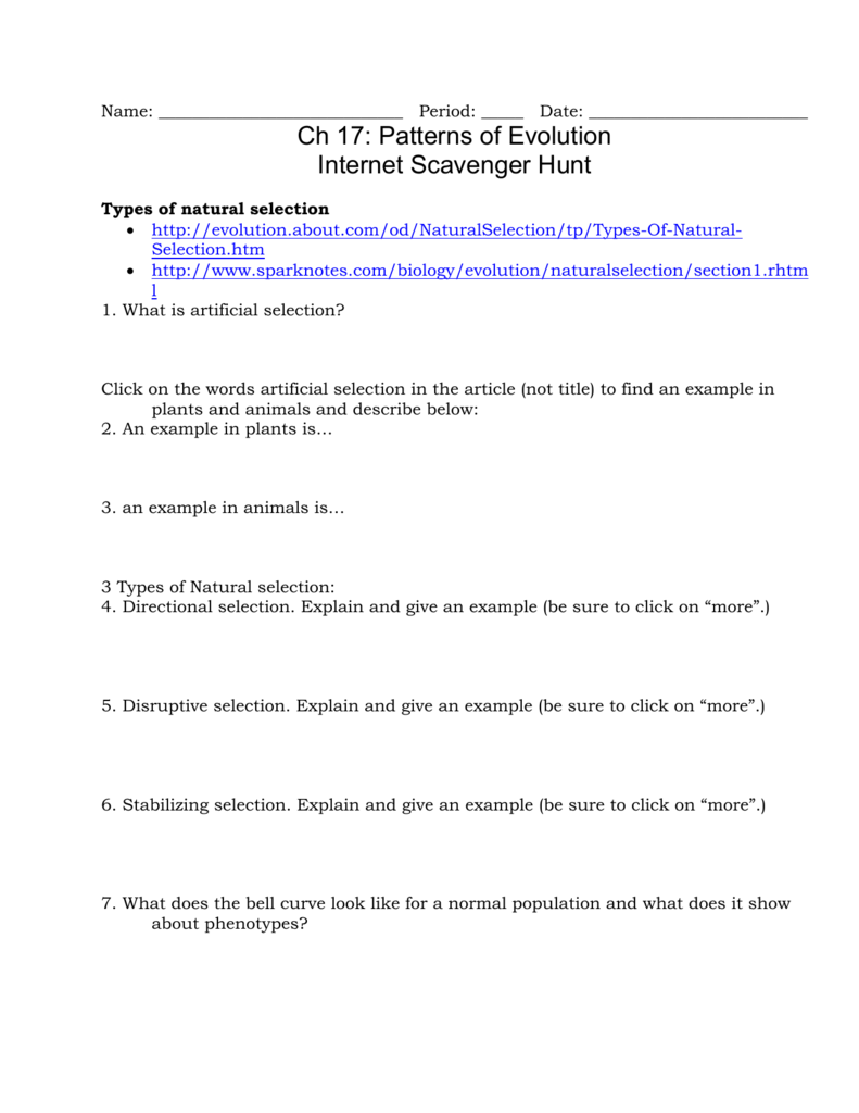 Name Period Date Ch 17 Patterns of Evolution Internet – Patterns of Evolution Worksheet