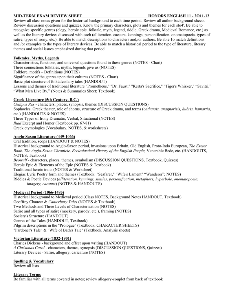 Workbooks personification worksheets : MID-TERM EXAM REVIEW SHEET HONORS ENGLISH 11