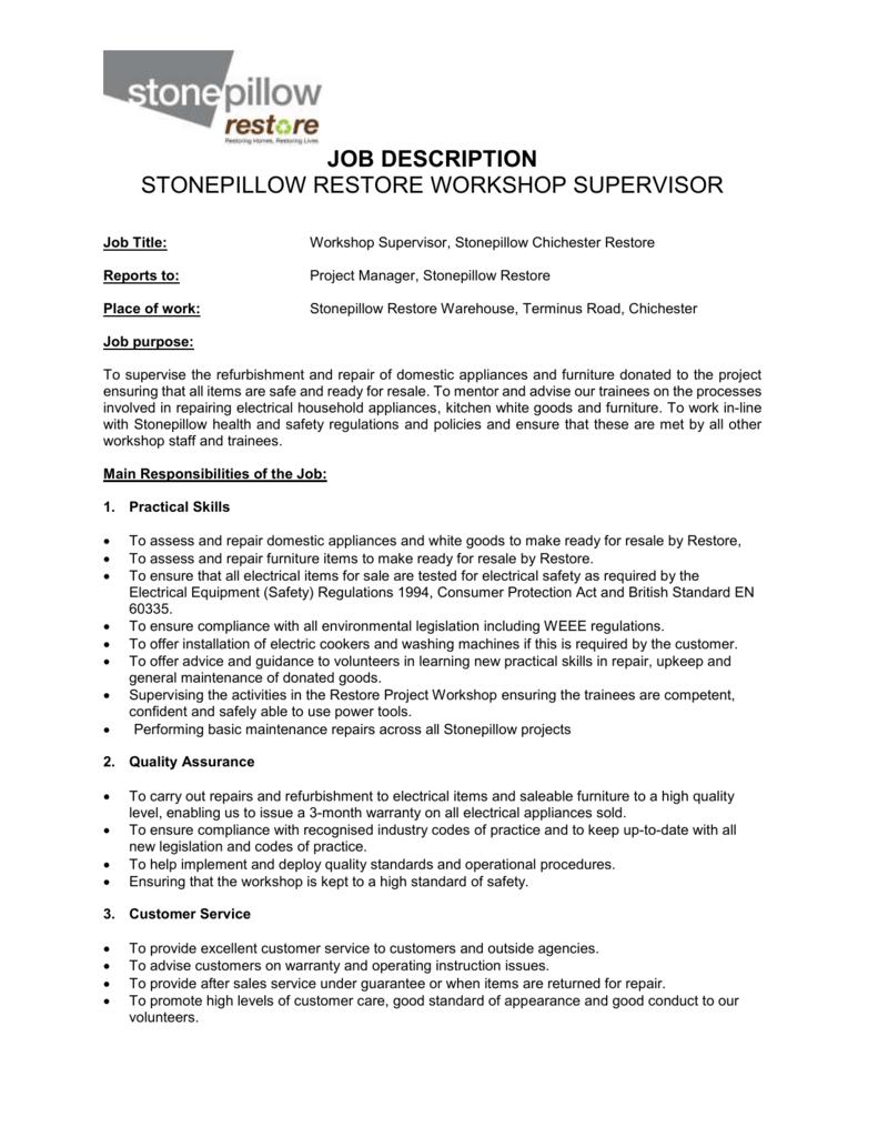 Customer service project manager job description