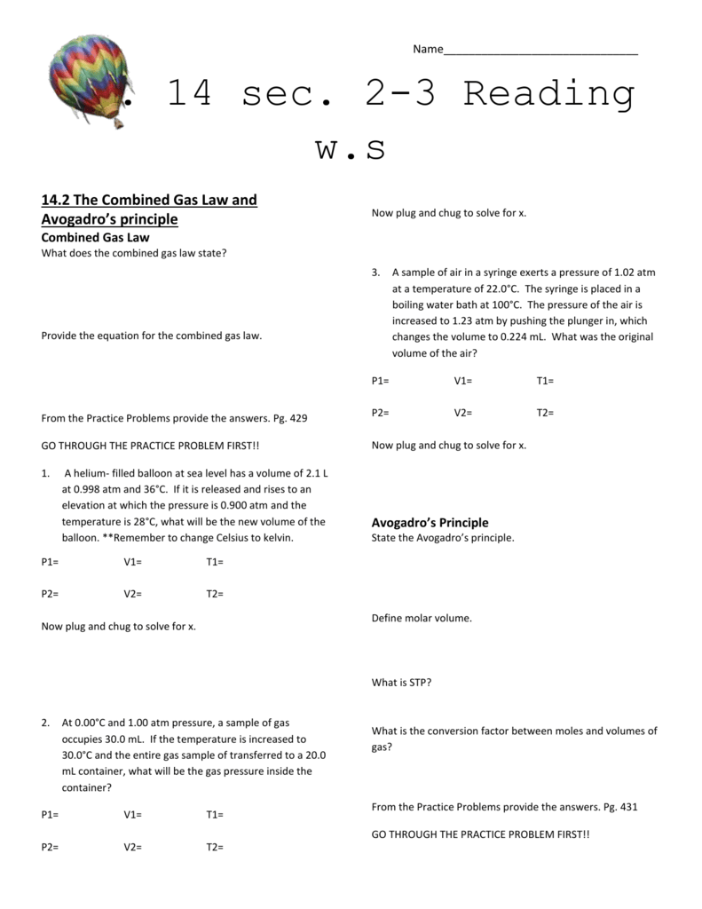 Worksheets Combined Gas Law Problems Worksheet 14 2 the combined gas law and avogadros principle