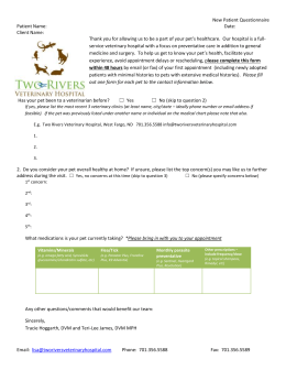 New Client Form - Two Rivers Veterinary Hospital