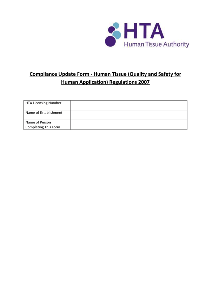 Compliance Update Form - Human Tissue Authority