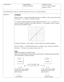Cornell Notes Topic/Objective: Variation Functions Algebra 2 Pre
