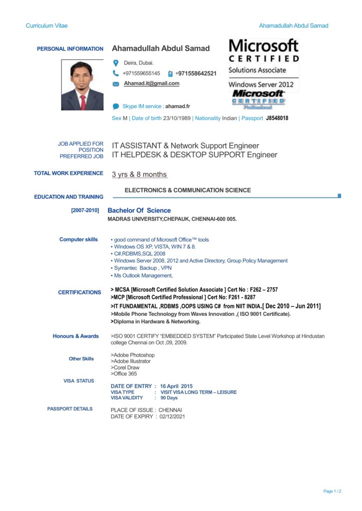 AHAMAD NETWORK CV