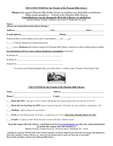 DONATION FORM for the Friends of the Pleasant Hills Library