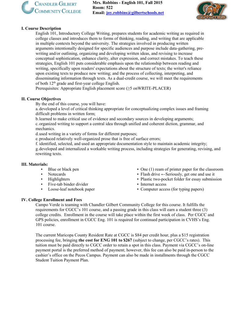 college essay writing 101 syllabus