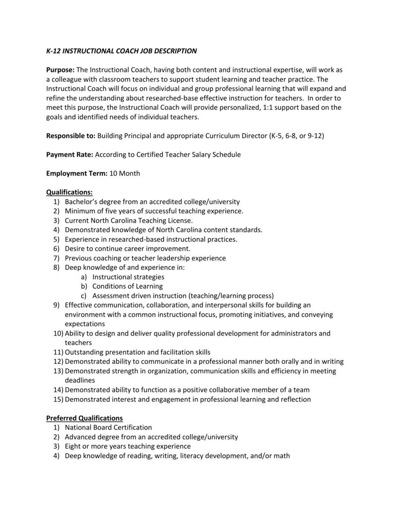 K 12 Instructional Coach Job Description Purpose The