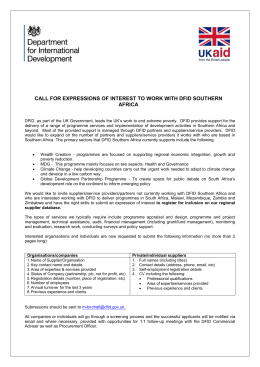 Call for expression of interest to work with DFID Southern