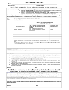 Faculty Disclosure Form