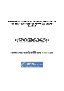 Recommendations For Use Of Chemotherapy For The Treatment Of