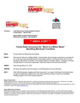 "MEDIA ALERT ** Family Dollar Announces the ""March to a Million"