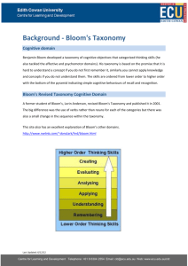 Background - Bloom`s taxonomy