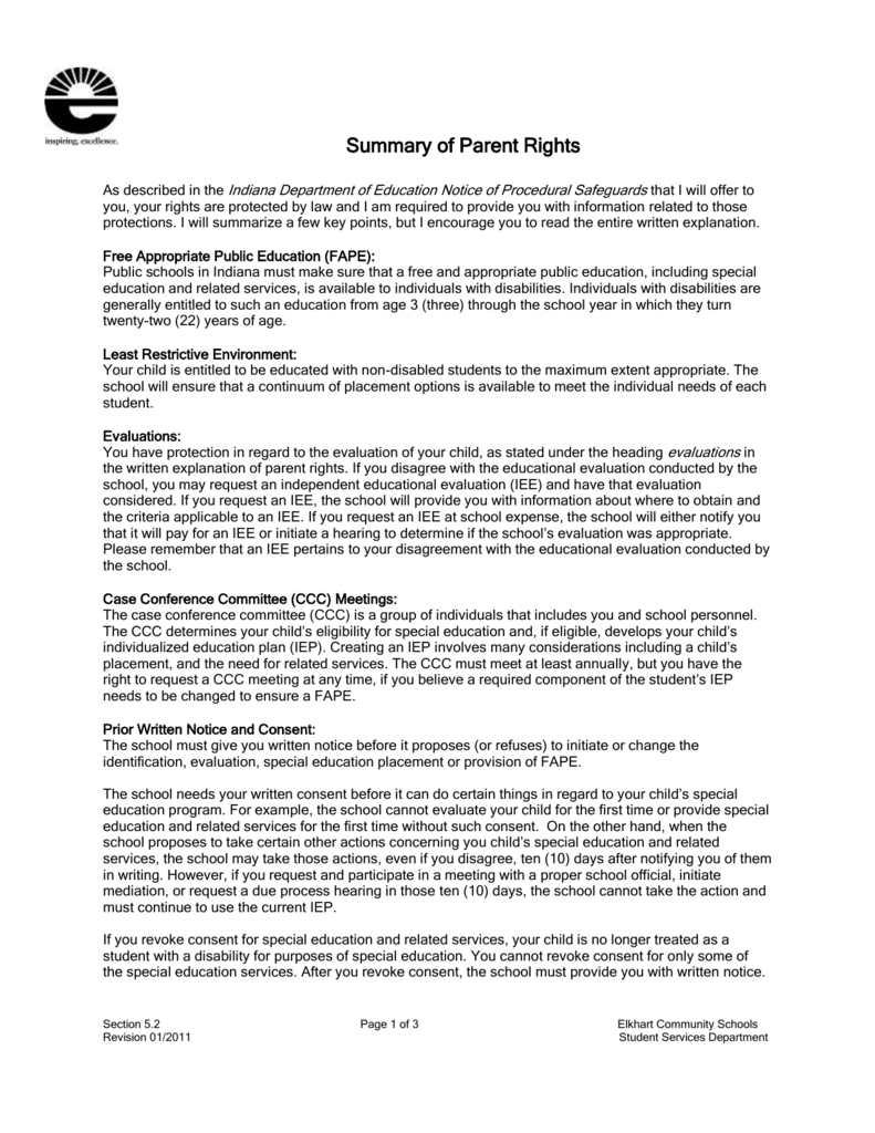 Parents Rights In Special Education Notice Of Procedural Safeguards >> Summary Of Parent Rights Elkhart Community Schools