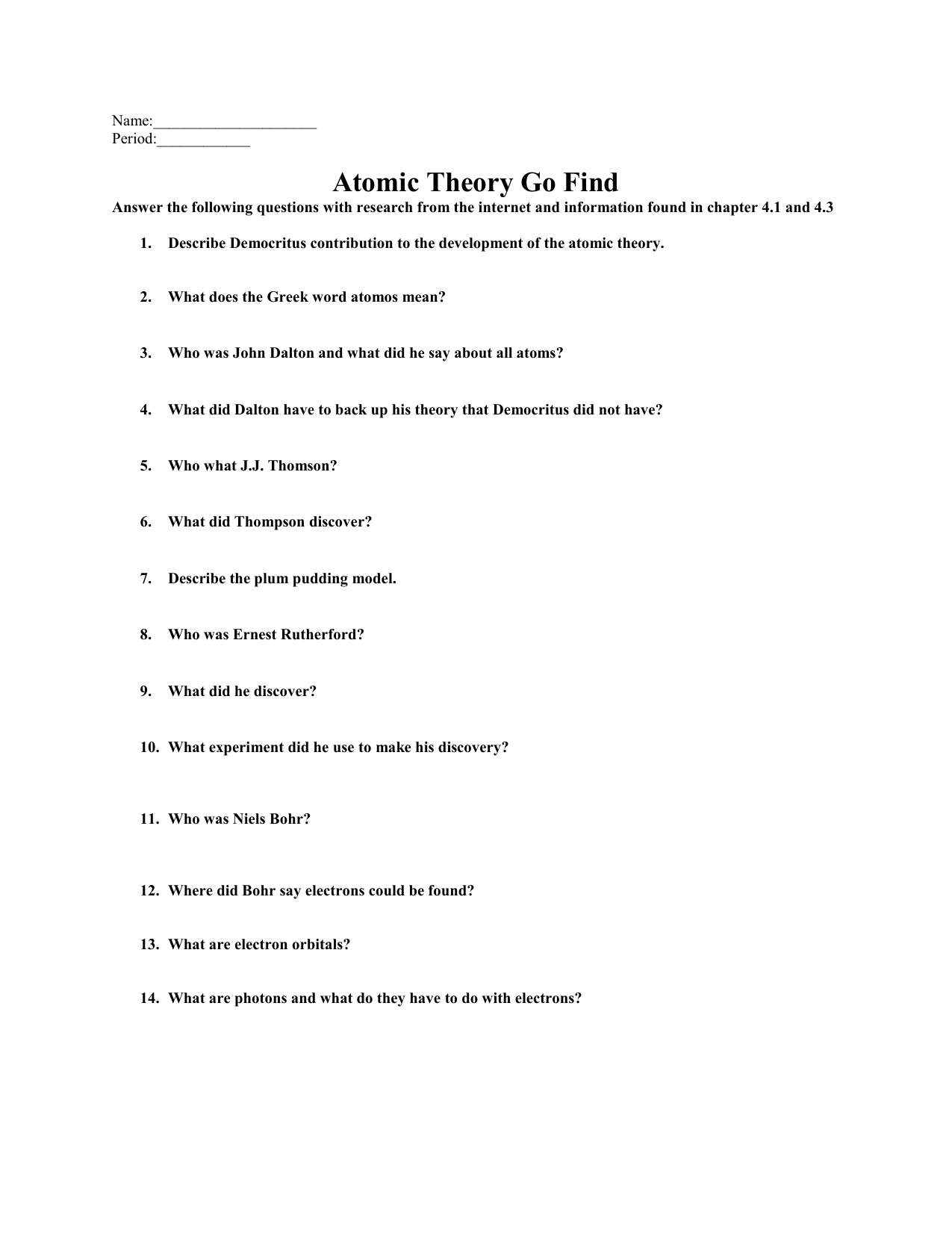Atomic Theory Go Find and Reading Guide