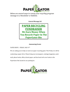 Announcement - Paper Gator Recycling