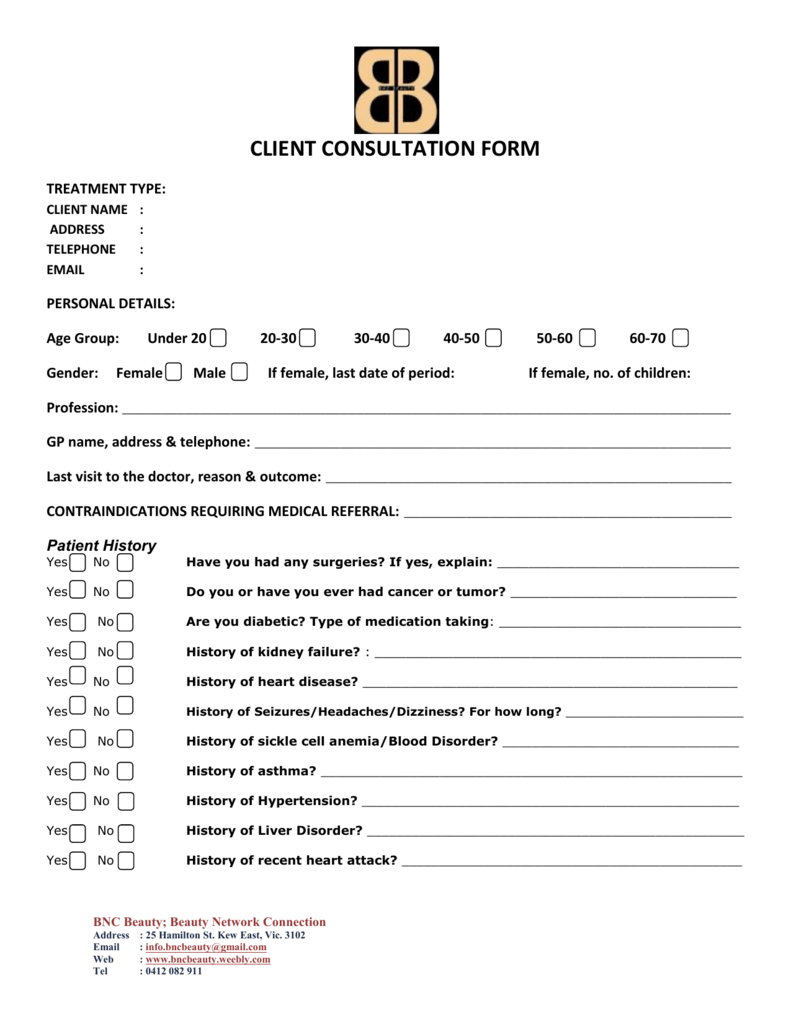 client consultation form – Medical Consultation Form