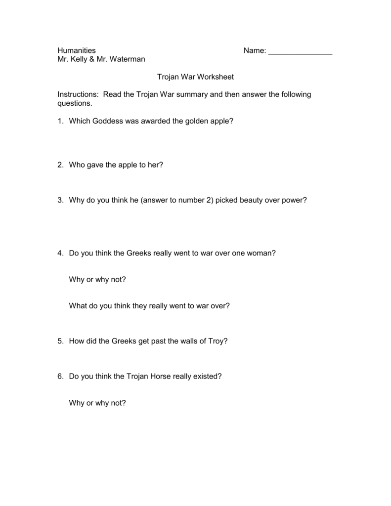 Trojan War Worksheet Answers Worksheets for all | Download and ...