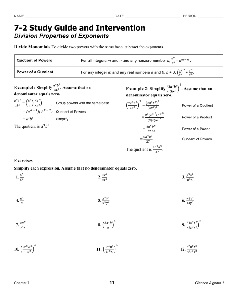 7 2 study guide and intervention division properties of exponents rh studylib net 10 2 study guide and intervention answer key 10-2 study guide and intervention answer key