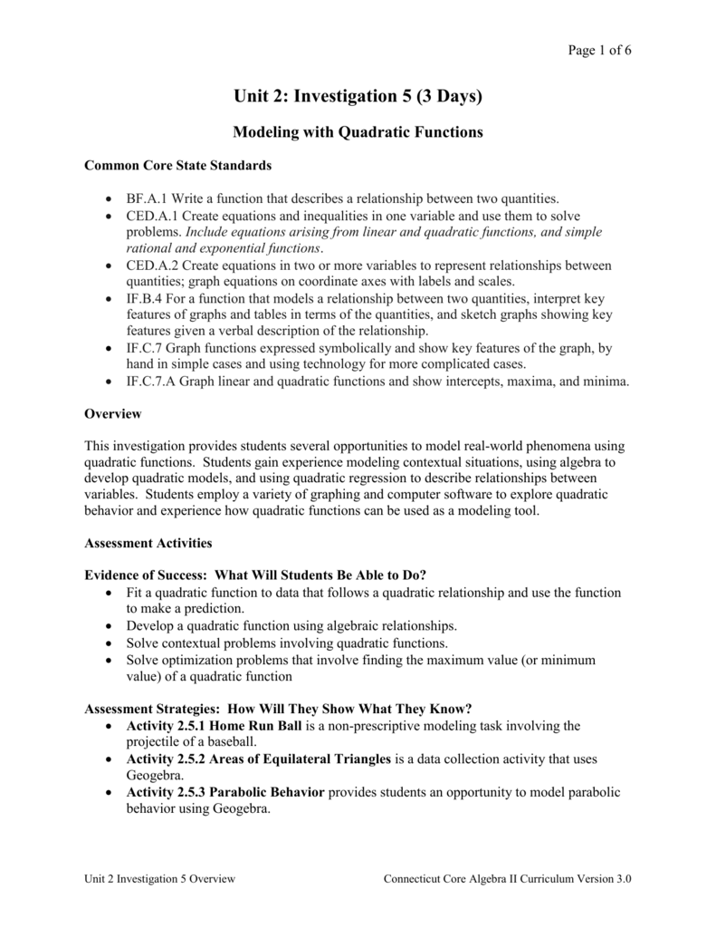 Overview - Connecticut Core Standards