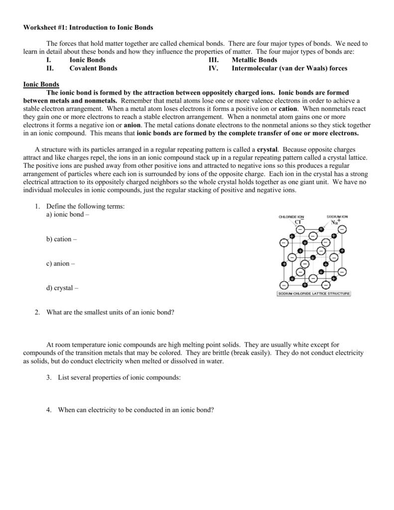 worksheet Ionic And Metallic Bonding Worksheet ionic bonding packet