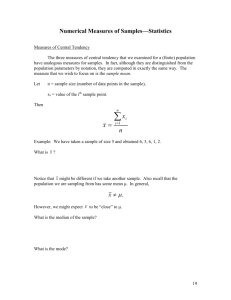 Numerical Measures of Samples*Statistics