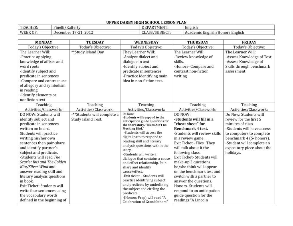 Upper darby high school lesson plan teacher finelli ibookread Download