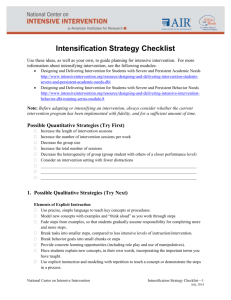 Intensification Strategy Checklist
