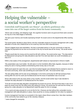Helping the vulnerable – a social worker`s perspective