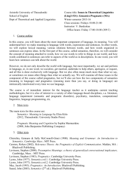 Aristotle University of Thessaloniki Course title: Issues in Theoretical