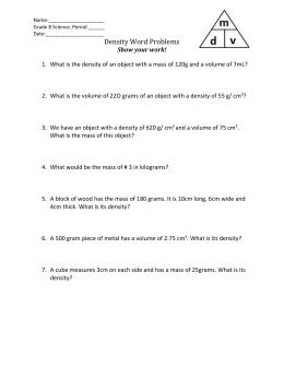 Worksheet 2 density name chemistry density word problems ws ibookread PDF