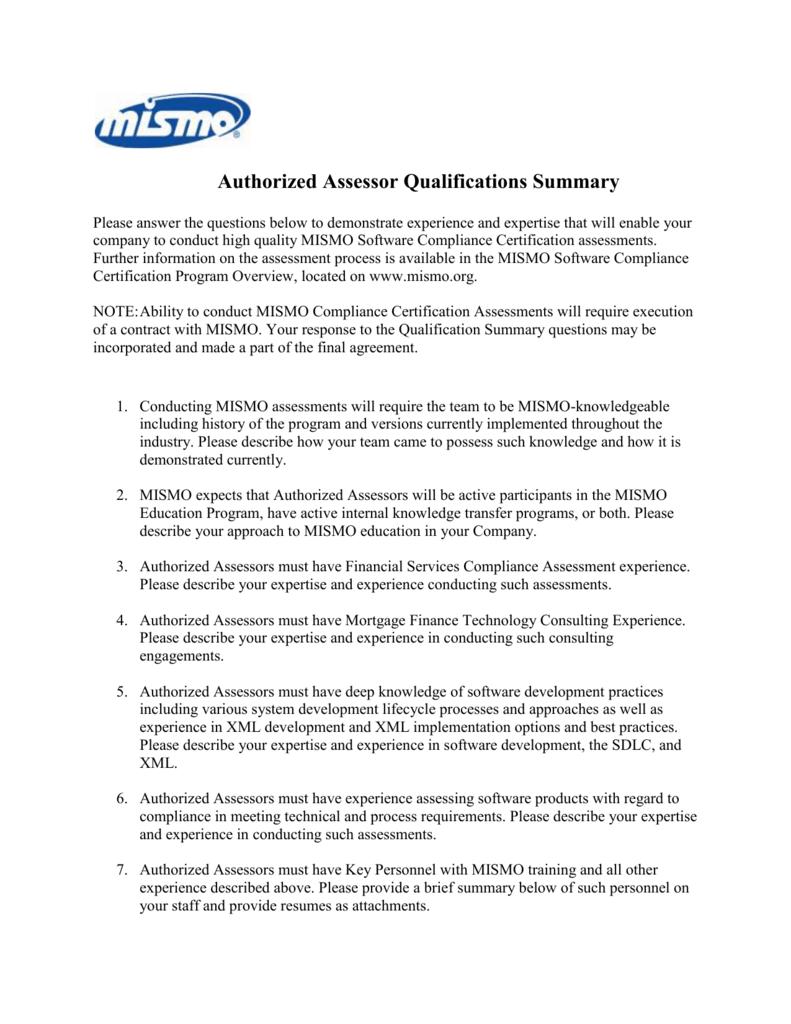 Authorized Assessor Qualification Summary